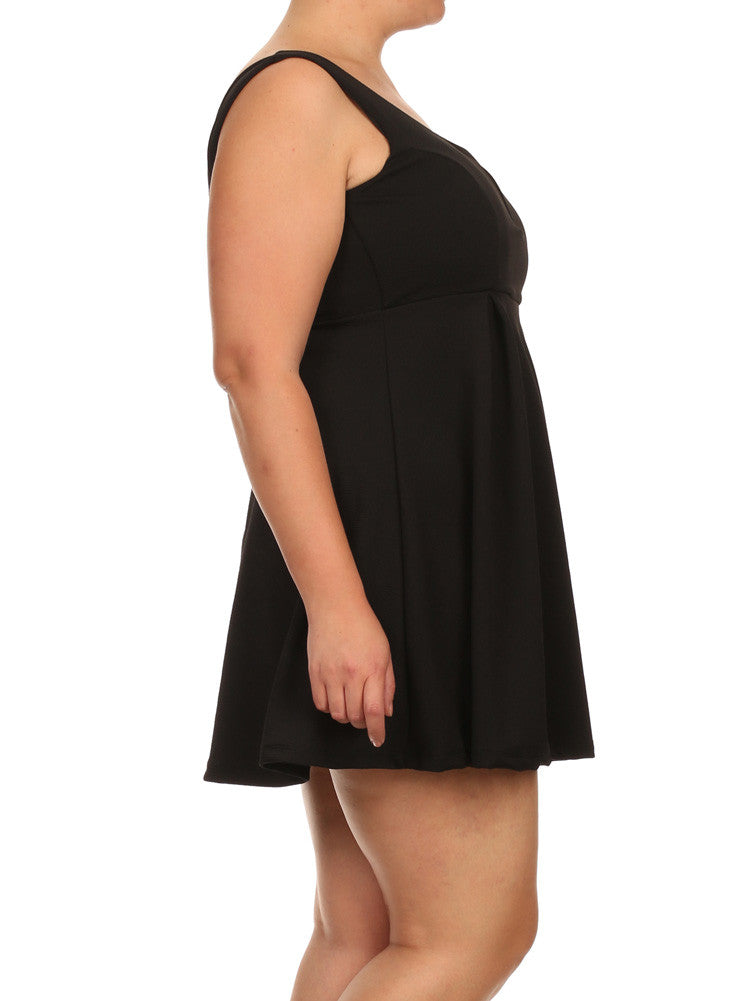 Plus Size Sweetheart Black Skater Dress