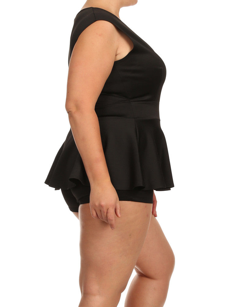 Plus Size Deep V Neck Peplum Black Playsuit