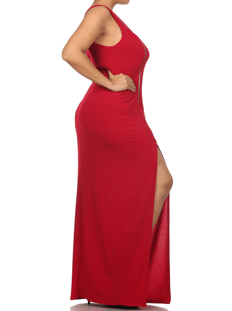 Plus Size Enticing One Shoulder Side Zipper Red Maxi Dress