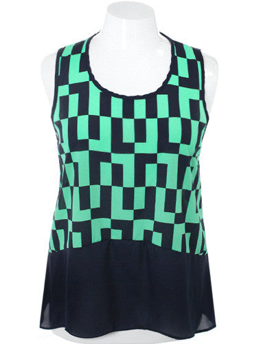 Plus Size Flowing Classic Checker Mint Top