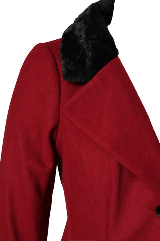 Plus Size Chic Faux Fur Collar High Low Single Breasted Coat