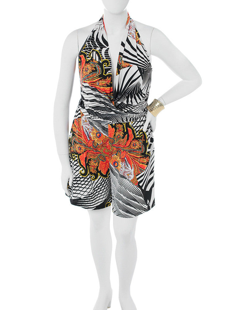 Plus Size Daring Fire Abstract Romper