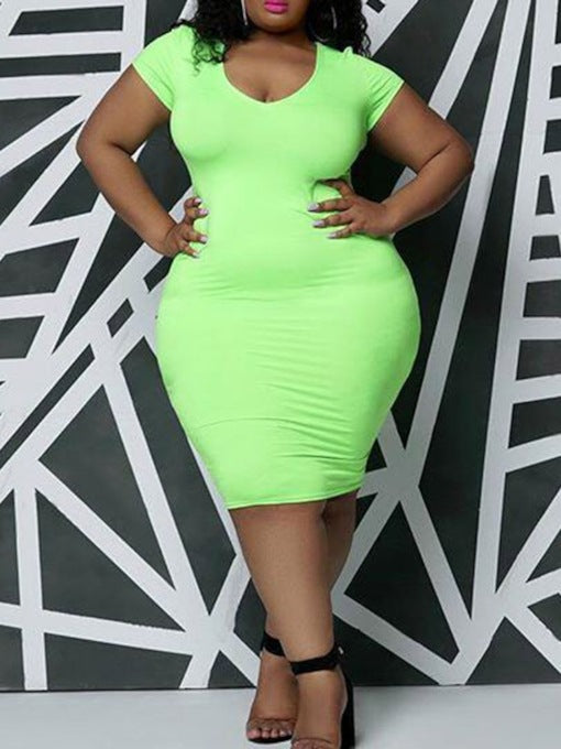 Plus Size Short Sleeve Knee-Length V-Neck Plain Dress