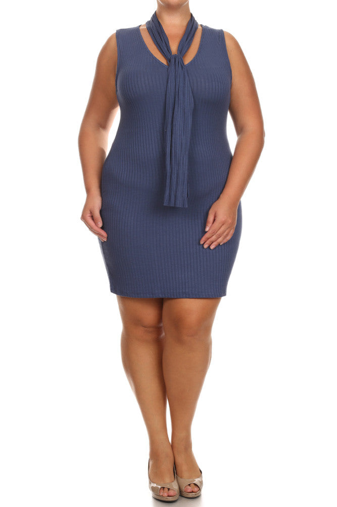 Plus Size Sexy Scarf Collar Ribbed Dress