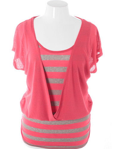 Plus Size Adorable Loose Stripe Pink Top