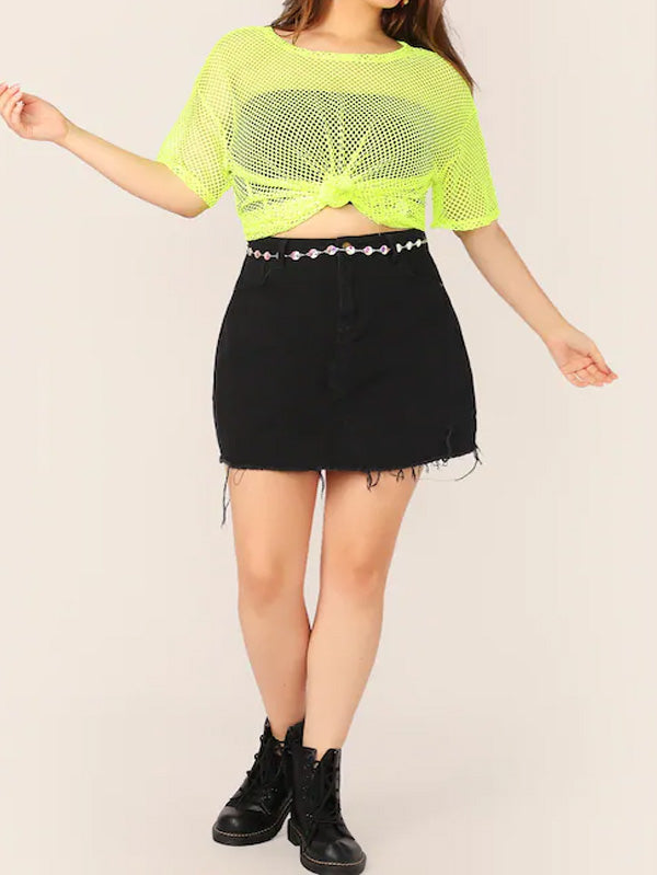 Plus Size Neon Yellow Fishnet Mesh Top Without Bandeau