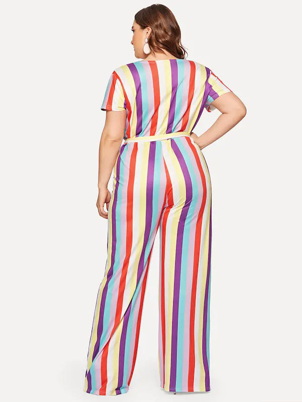 Plus Size Surplice Front Self Tie Striped Jumpsuit