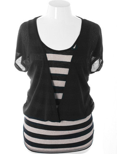 Plus Size Adorable Loose Stripe Black Top