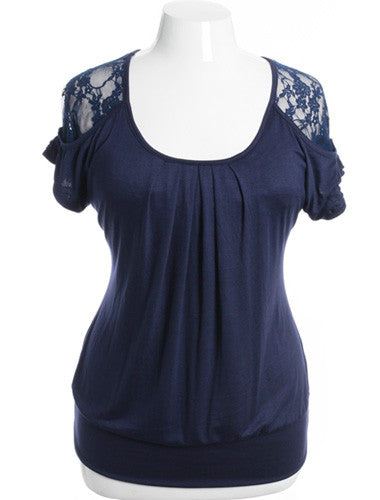 Plus Size Pleated See Through Lace Blue Top