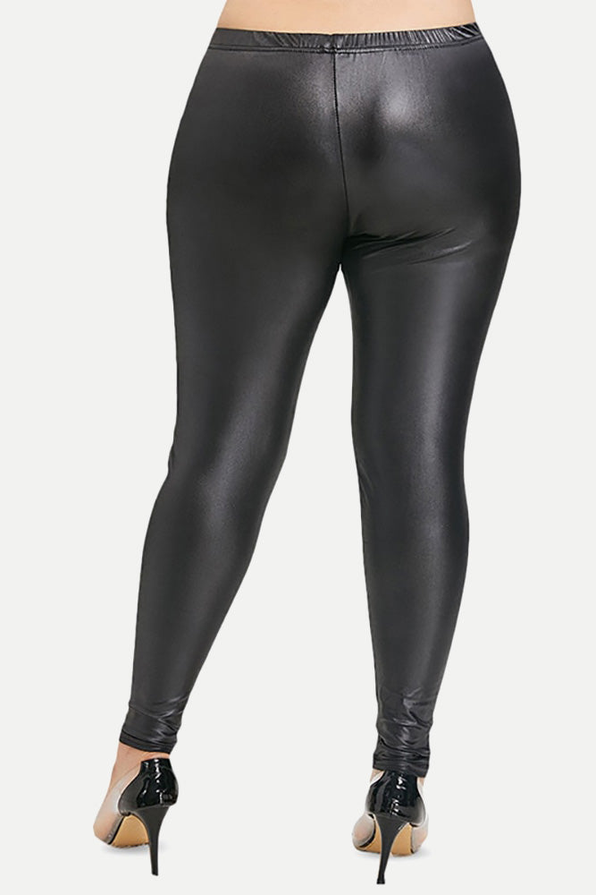Plus Size Sexy Elastic Faux PU Leather Skinny Leggings