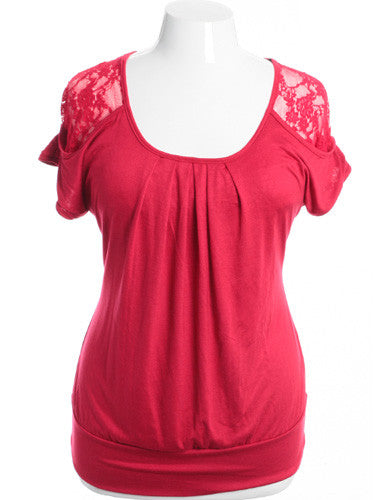Plus Size Pleated See Through Lace Red Top