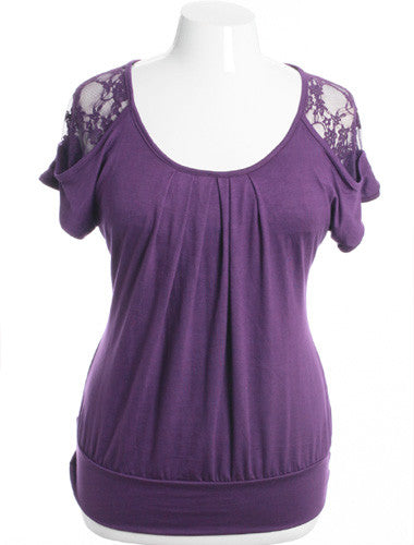 Plus Size Pleated See Through Lace Purple Top