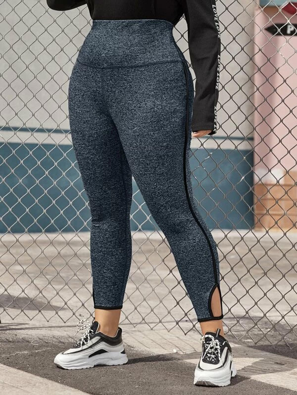 Plus Size Wide Waistband Cutout Detail Contrast Binding Leggings