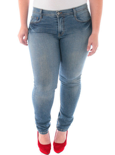 Plus Size Distressed Pockets Skinny Jeans