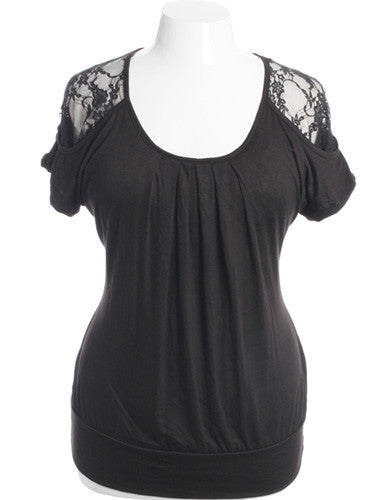 Plus Size Pleated See Through Lace Black Top