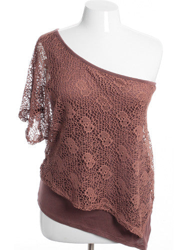 Plus Size See Through Knit One Shoulder Taupe Top