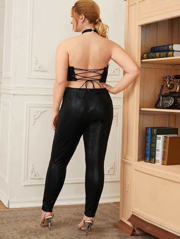 Plus Size Lace-up Open Back Crocodile Embossed Halter Jumpsuit