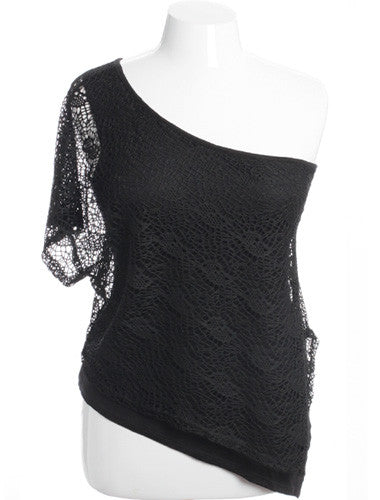 Plus Size See Through Knit One Shoulder Black Top
