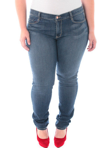 Plus Size Designer Stretchy Distressed Skinny Jeans