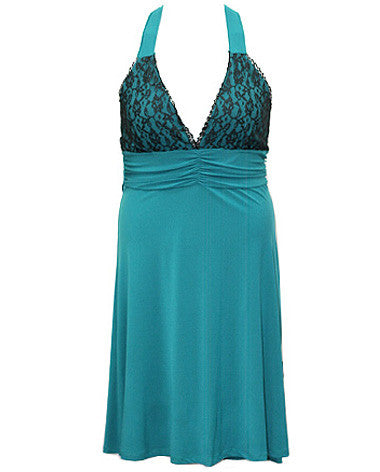 Lace Accent Teal Dress