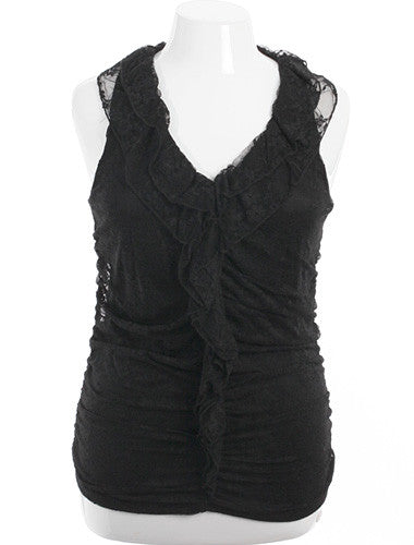 Plus Size Adorable Ruffled Lace Black Tank