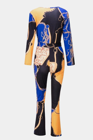 Plus Size Gold Deep V Neck Designer Chain Print Jumpsuit