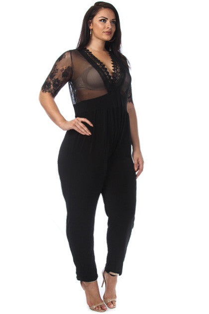 Deep V Neck Mesh & Lace Plus SIze Jumpsuit