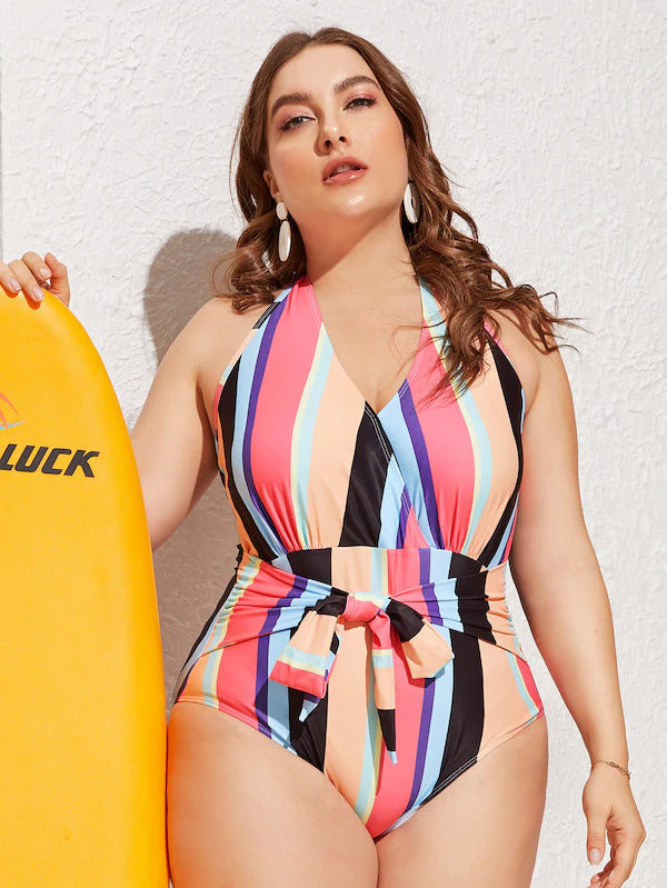 Plus Size Striped Tie Front Ruched One Piece Swim