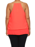 Plus Size Gold Chain Sexy Coral Cami