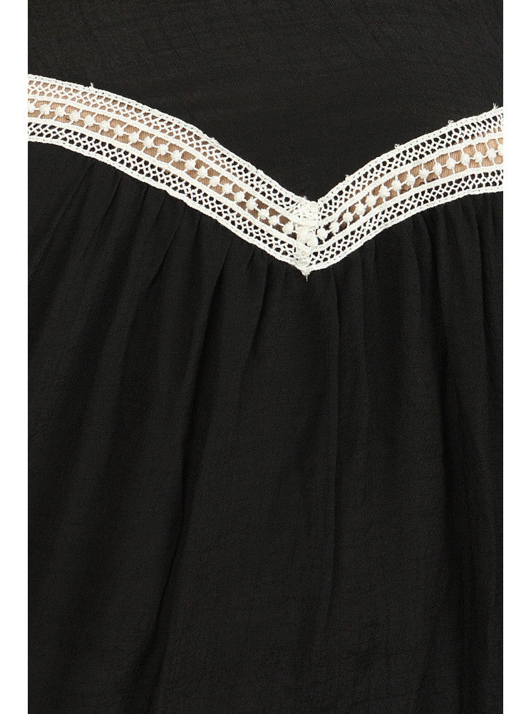 Plus Size Lovely Peasant Black Flowy Top