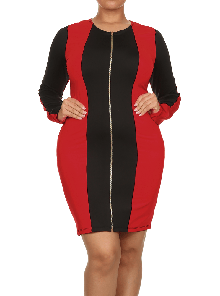 Plus Size City Girl Colorblock Zippered Red Dress