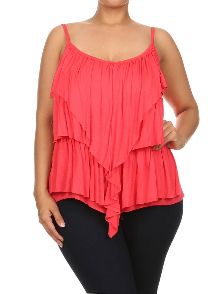 Plus Size Hanky Hem Ruffled Layers Pink Top