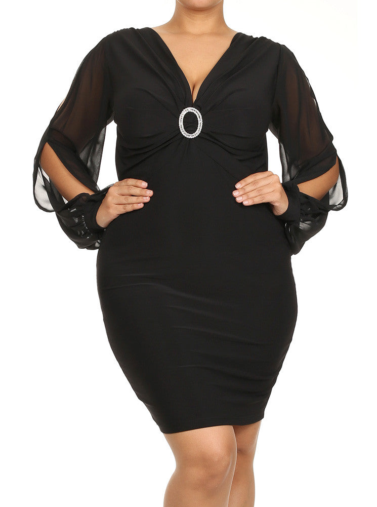 Plus Size Cut Out Sheer Sleeves Rhinestone Ring Black Dress