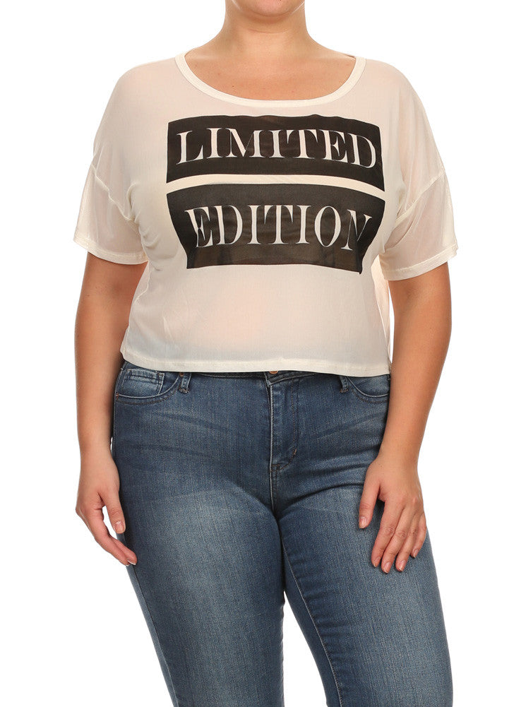 Plus Size Limited Edition White Net Crop Top