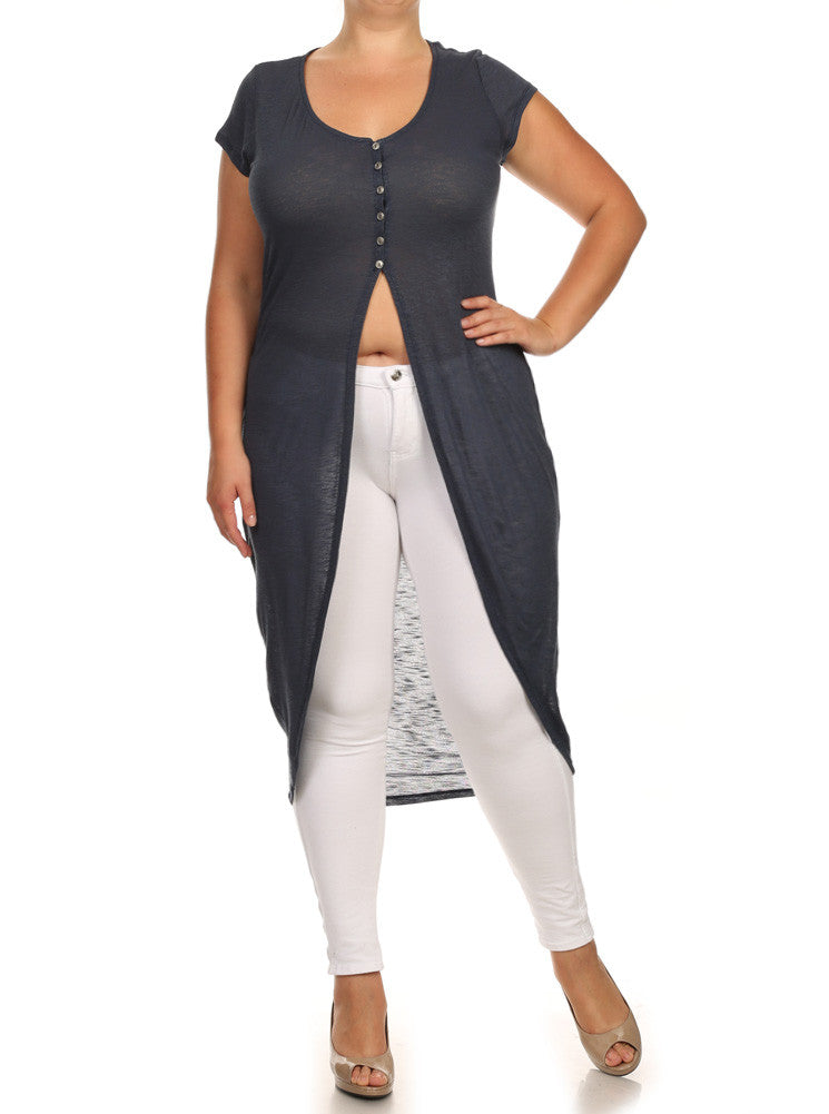 Plus Size Chic Knit Buttoned Blue Maxi Top