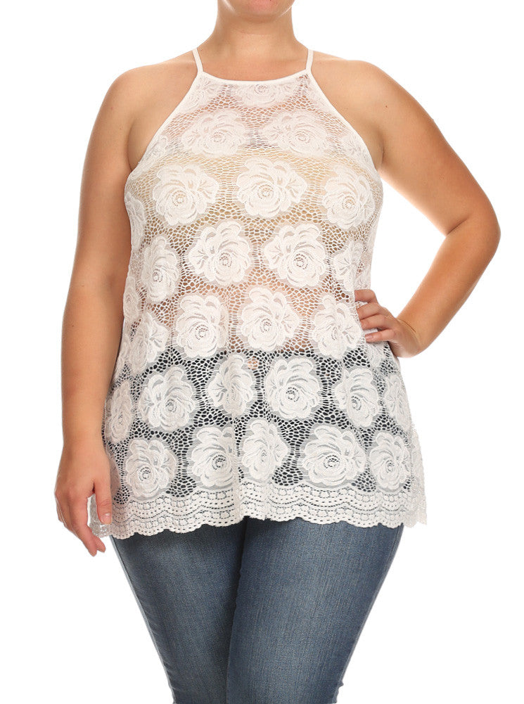 Plus Size See Through Flower White Tank