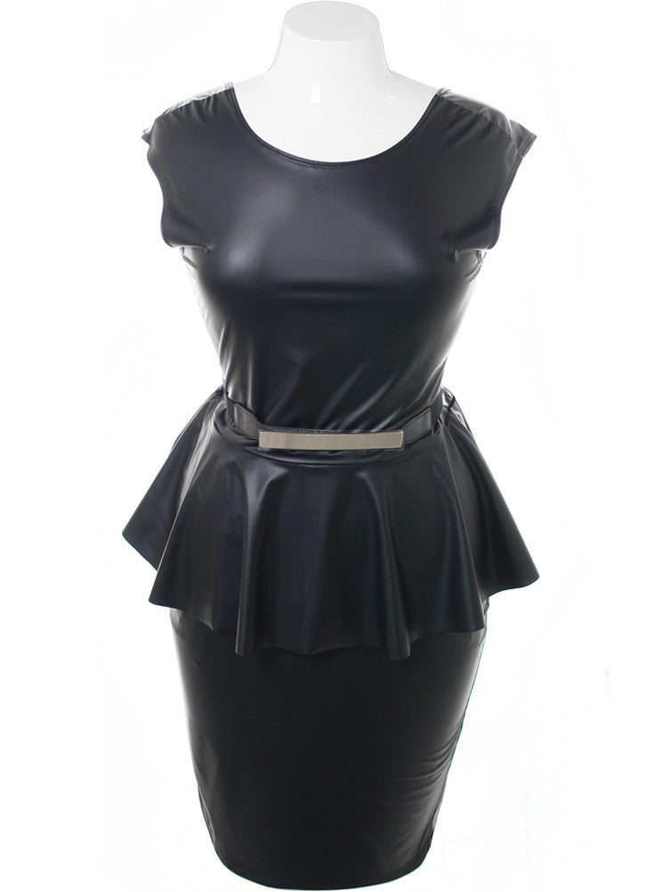 Plus Size Gold Buckle Peplum Black Dress