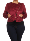 Plus Size Chic Side Zipper Burgundy Velour Jacket