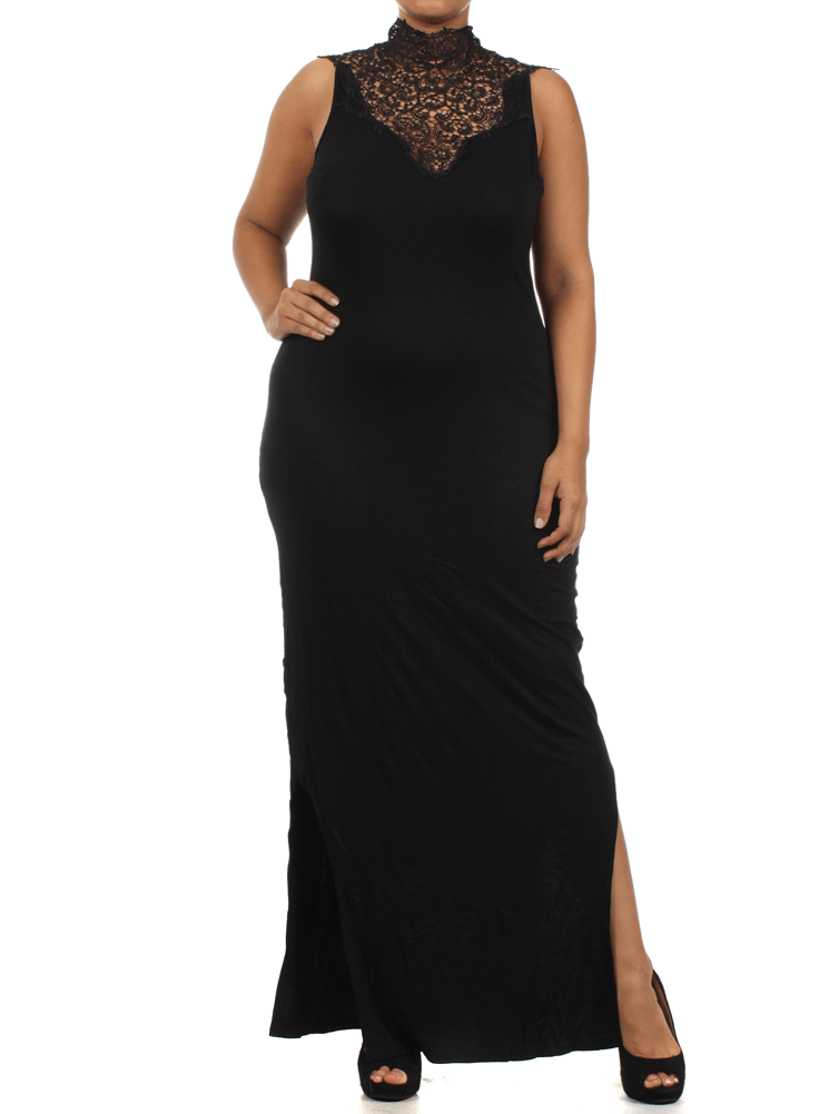 Plus Size Sunset View Crochet Lace Neckline Maxi Black Dress