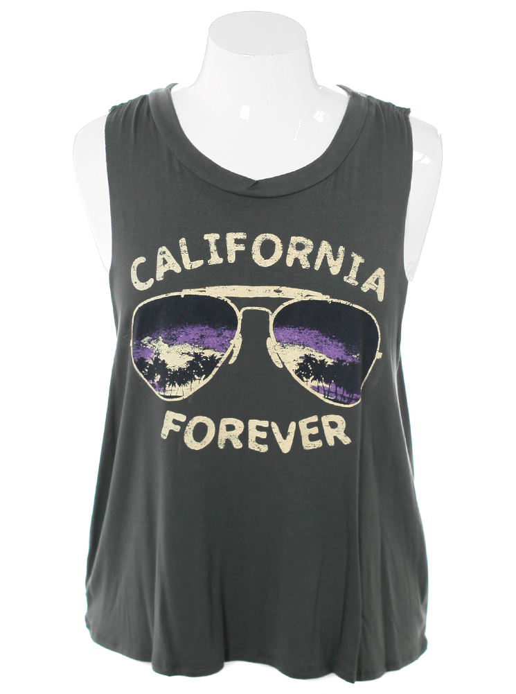 Plus Size California Forever Olive Tank Top
