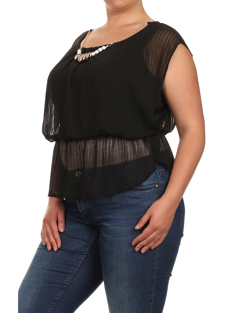 Plus Size Glam Drop Waist Sheer Black Blouse