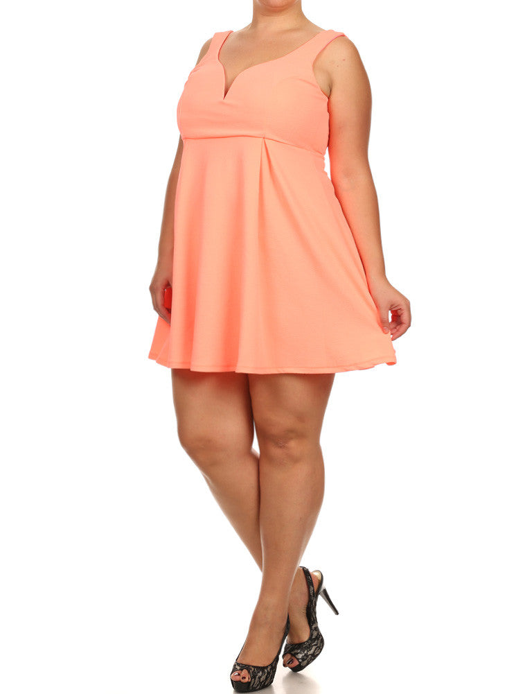 Plus Size Sweetheart Neon Peach Skater Dress