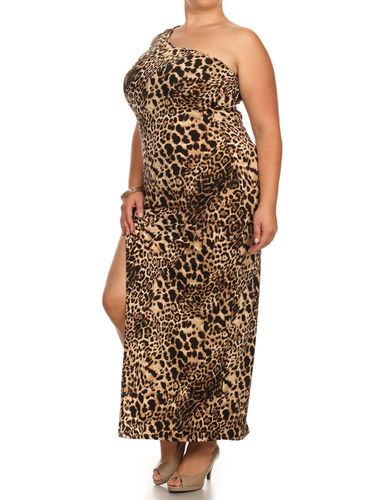 Plus Size On The Prowl Side Zipper Maxi Dress