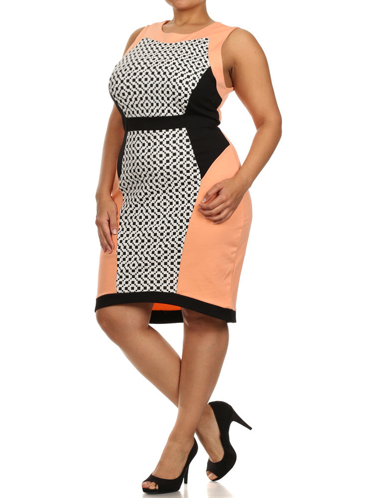 Plus Size Checkered Pastel Colorblock Peach Dress