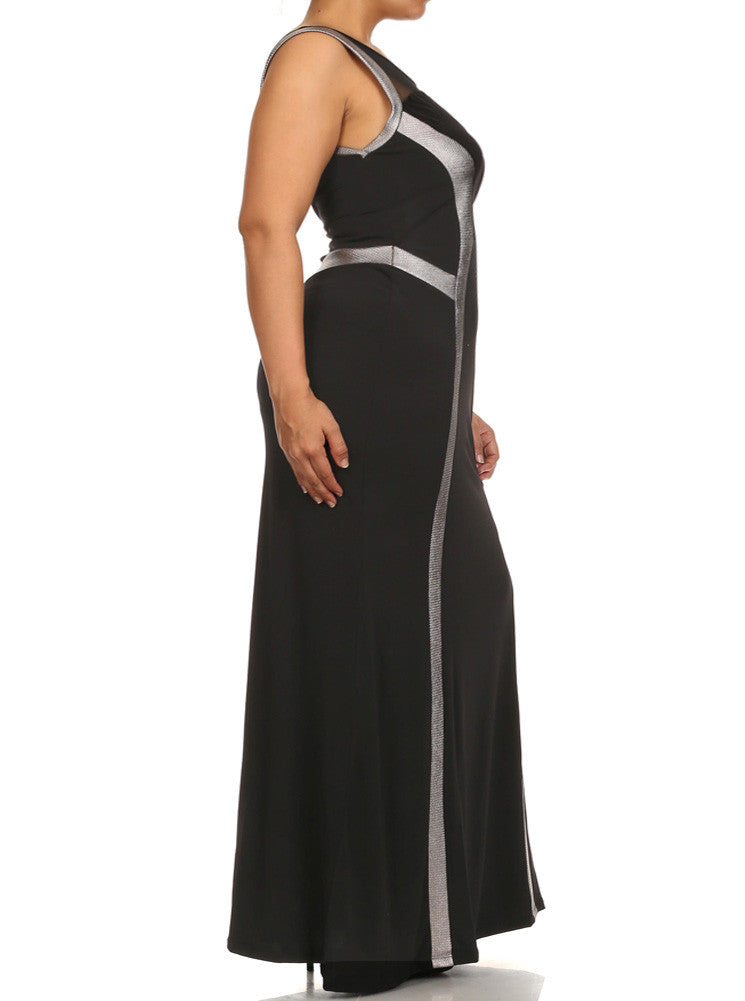 Plus Size Glam Beauty Silver Trim Maxi Dress