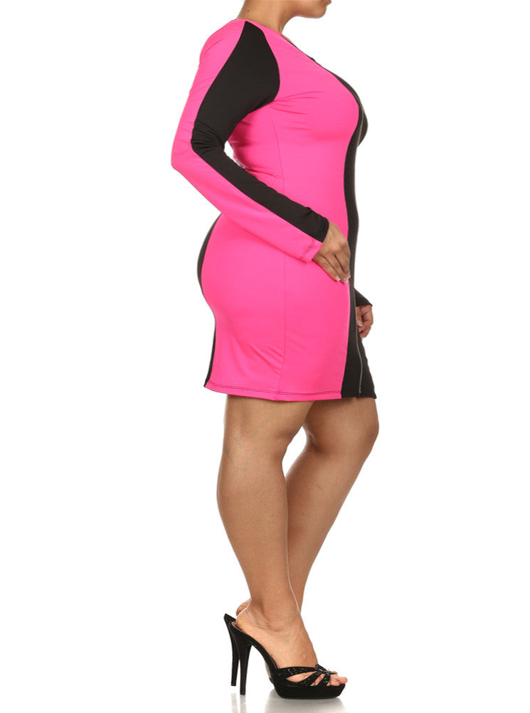 Plus Size City Girl Colorblock Zippered Pink Dress