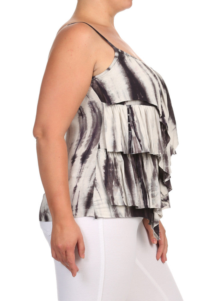 Plus Size Flirty Ruffles Grey Tie Dye Top