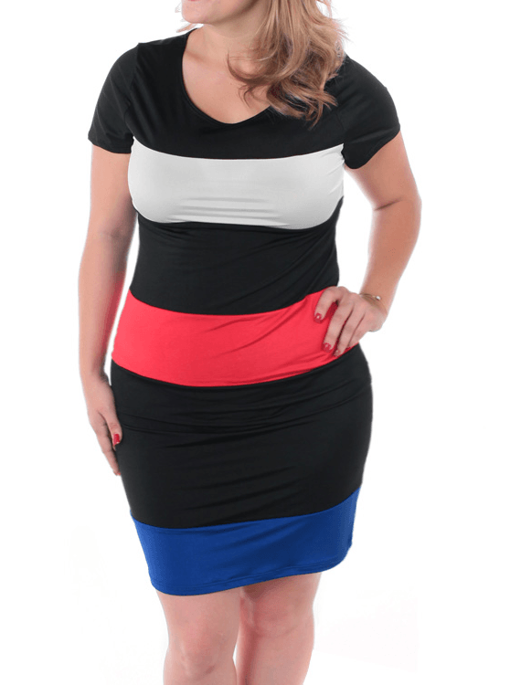 Plus Size Block Banding Slick Dress