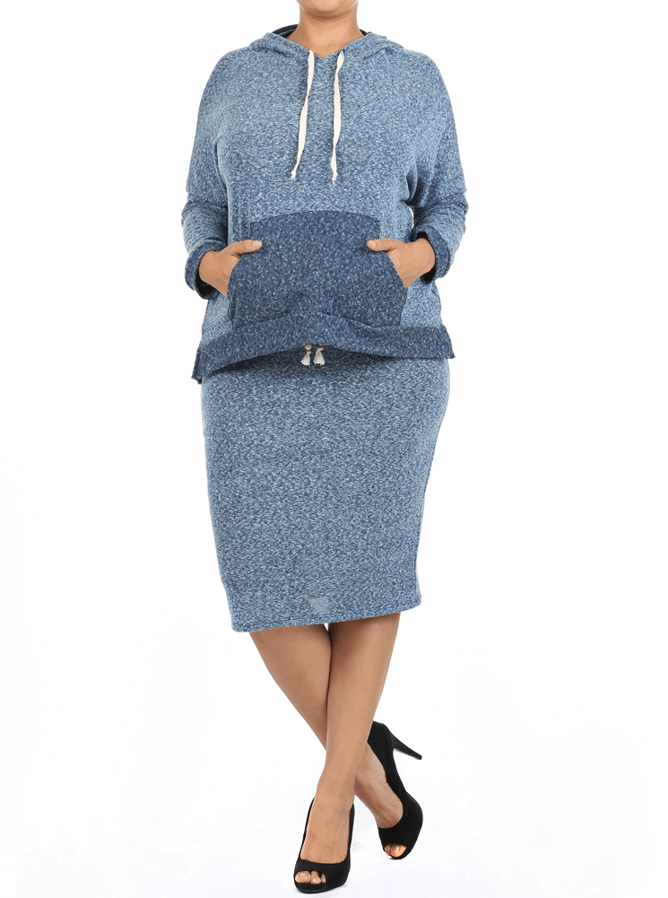 Plus Size Born Ready Hoodie Blue Midi Skirt Set