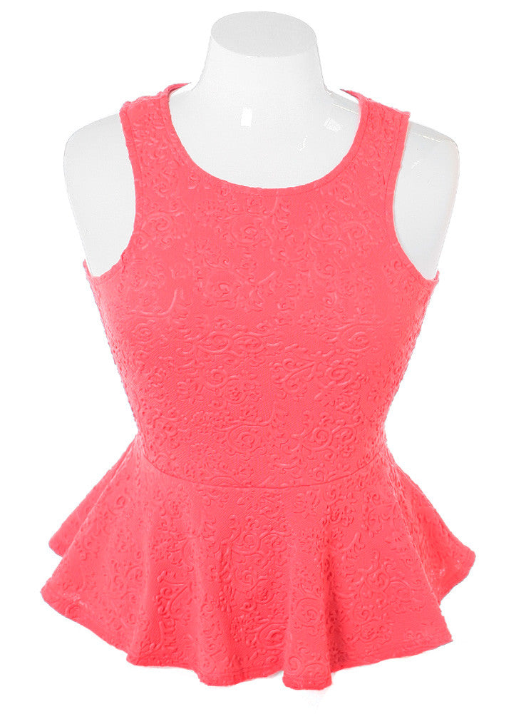 Plus Size Textured Victorian Peplum Coral Top